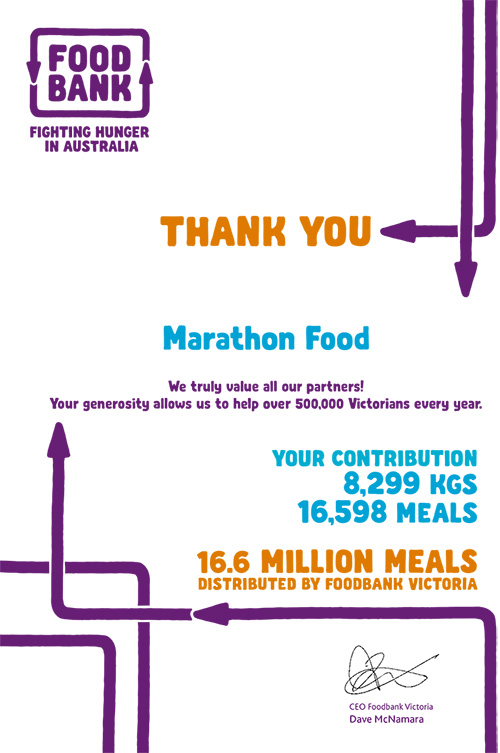 Marathon Foods donations to Foodbank